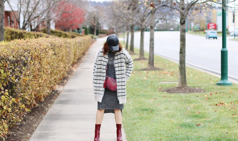 Macys Backstage Outfit, burgundy ankle boots, cross body bag, window pane cardigan jacket