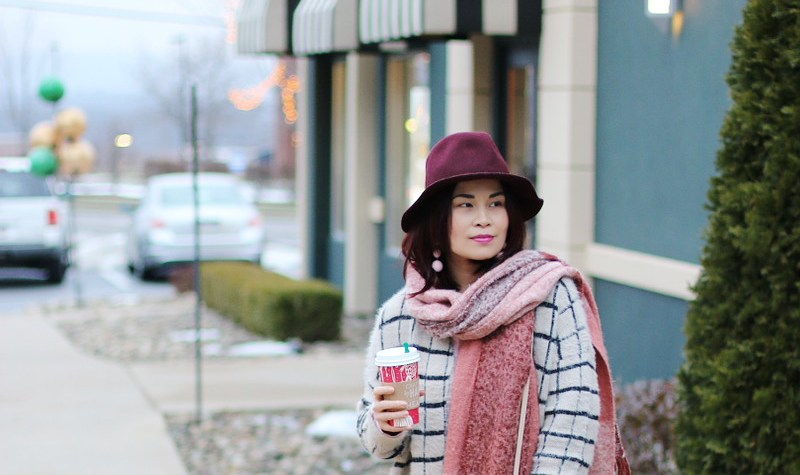 Burgundy and Pink Outfit