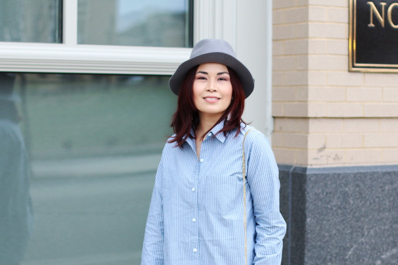 Fedora Hat, Club Monaco Pinstripe Button Down Shirt