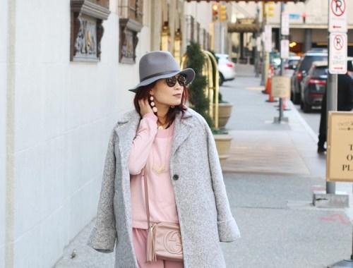 pink dress, gray coat, fedora hat, prada sunglasses