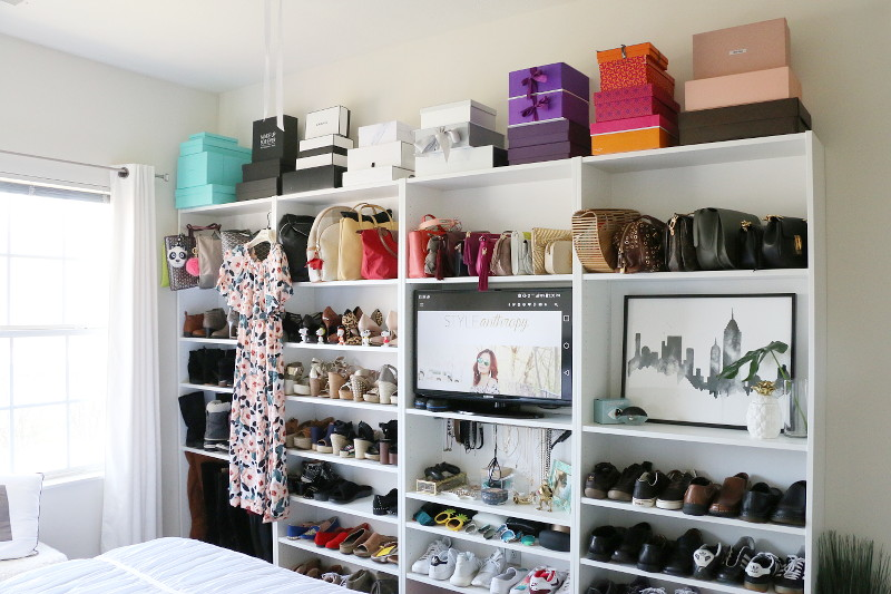 DIY shoe closet, shoes, how to organize shoes and accessories, before and after, shoe organization transformation, home, interiors, design, bedroom