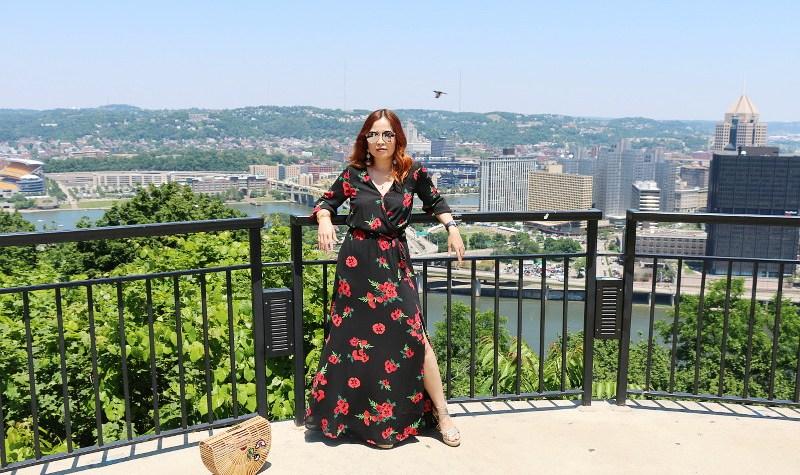 Floral Maxi Dress, Cult Gaia Wooden Ark Bag