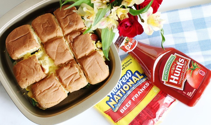 Breakfast Hotdog Sliders, Hebrew National Beef Franks, Hunts Ketchup