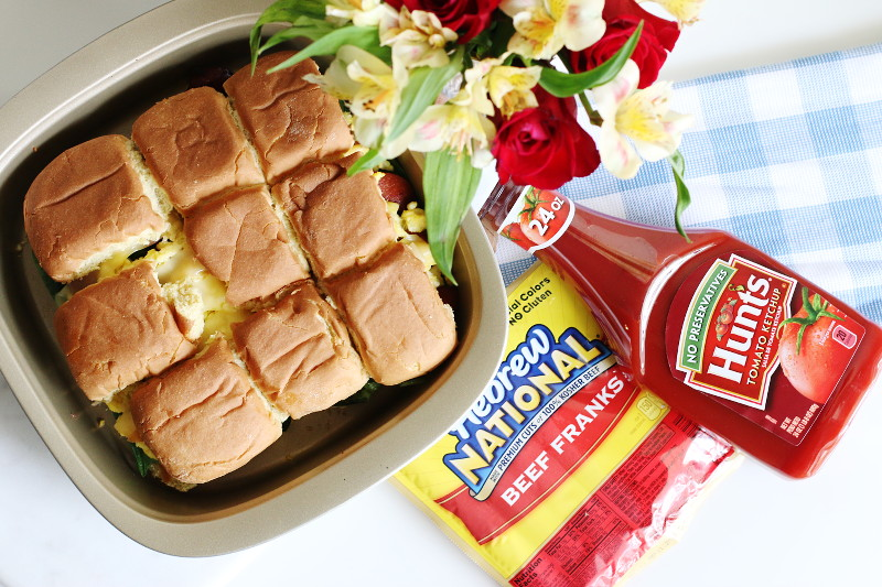 Breakfast Hotdog Sliders, Hebrew National Beef Franks, Hunts Ketchup