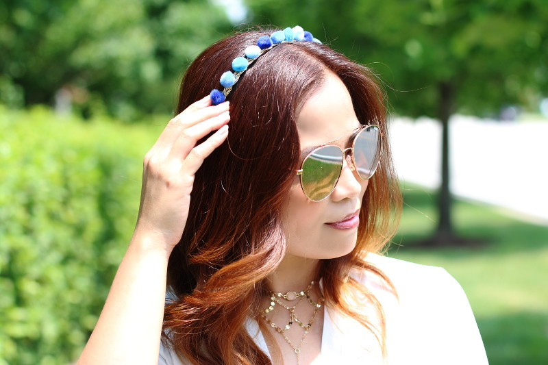 DIY Pompom headband, beach waves