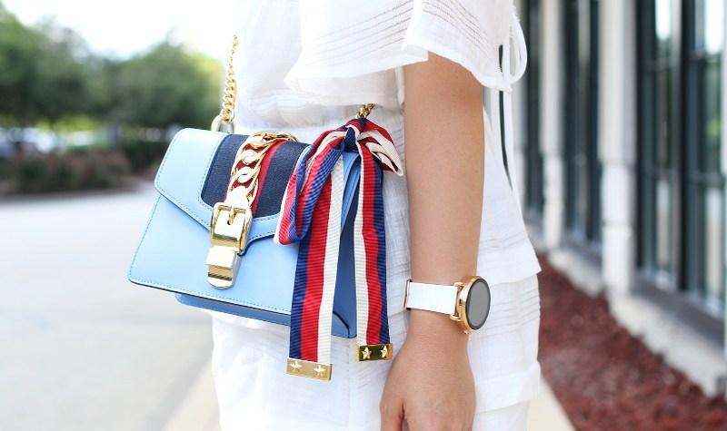 Gucci Sylvie bag, White Romper, Fossil smartwatch