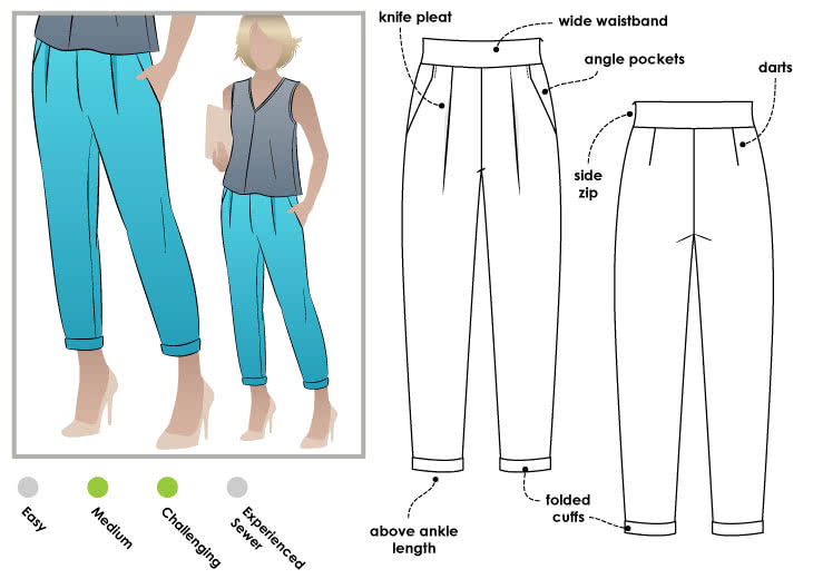 The pattern cover for the Style Arc Christia pant which shows annotated line drawings, plus a fashion illustration where the pants are shown in blue.