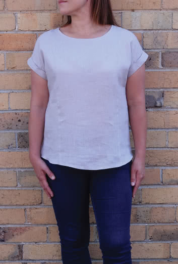 Courtney Top Driftwood Washed Linen Fabric Style Arc