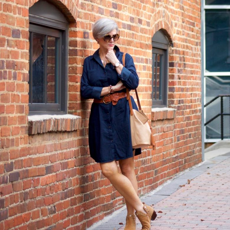 how to wear a denim shirtdress
