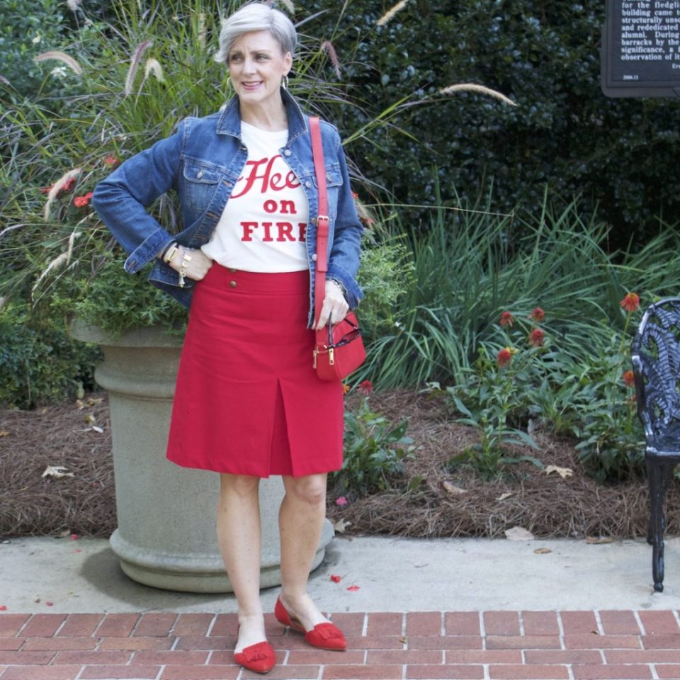 red a-line skirt from talbots