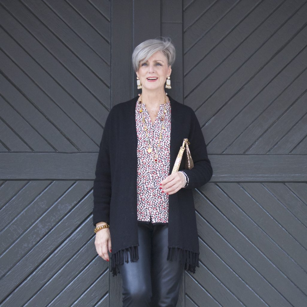 faux leather leggings, silk blouse and fring cardigan by style at a certain age