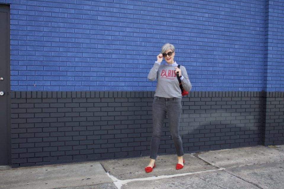 how to wear gray skinny jeans by old navy and a grey sweater from Talbots Parisian collection