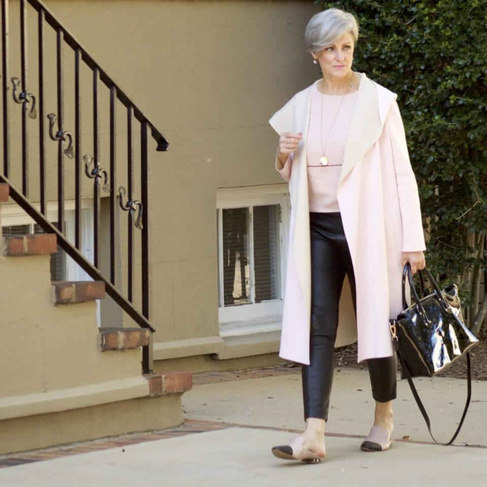 long duster cardigan in pantone's color of the year - rose