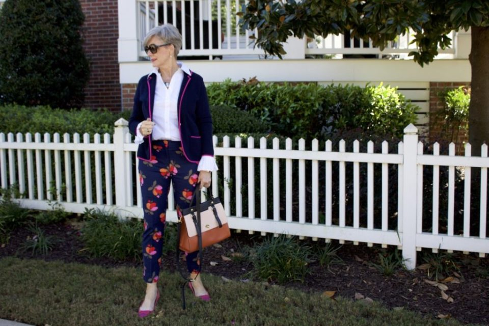 boden floral pants with sweater blazer