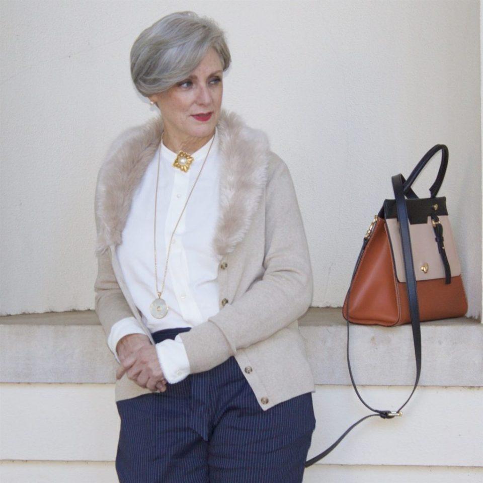 alexander wang shirt, classique pinstripe pants, banana republic faux fur cardigan, vince camuto suede pumps, chanel brooch