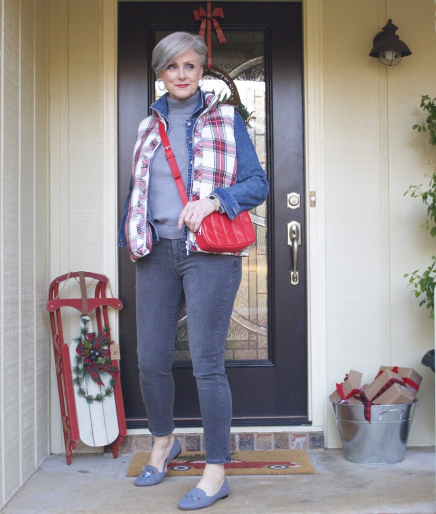 talbots puffer vest, old navy jean jacket, old navy rockstar jeans