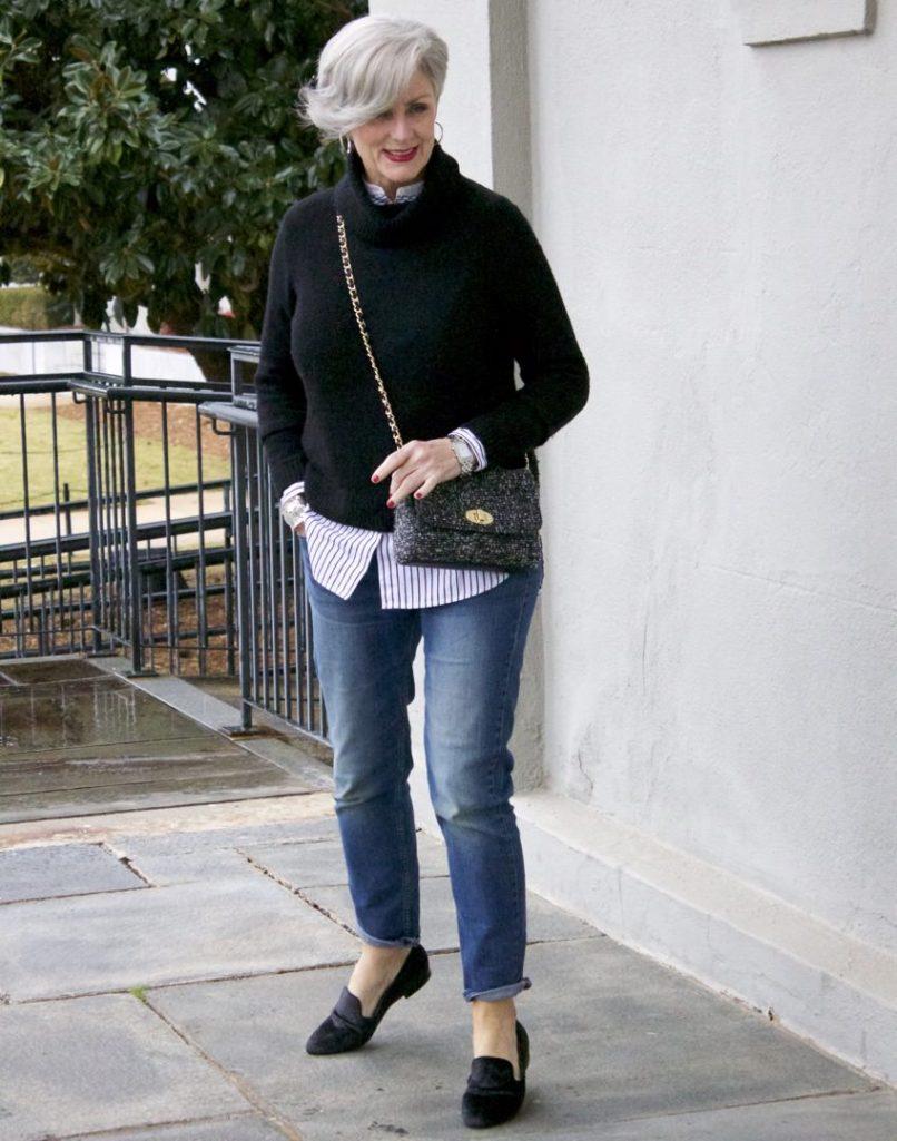 j.crew turtleneck, banana republic girlfriend jeans, tahari smoking slippers, talbots tweed handbag