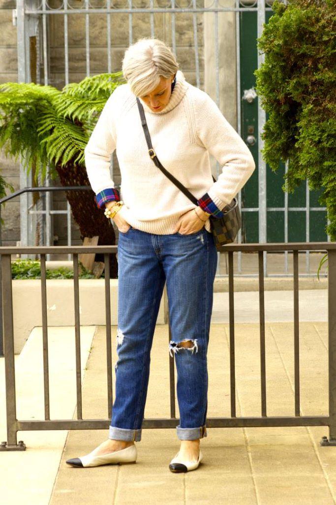 j.crew denim, old navy sweater, gap plaid shirt