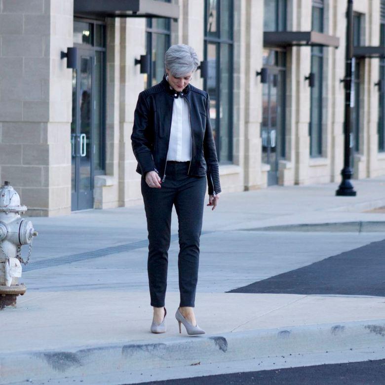 vince camuto leather moto jacket, everlane silk blouse, talbots pants, vince camuto suede pumps, talbots tweed handbag