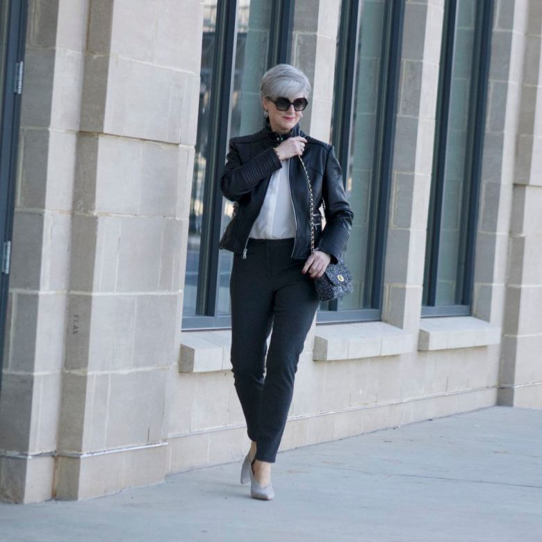 vince camuto leather moto jacket, everlane silk blouse, talbots pants, vince camuto suede pumps, talbots tweed handbag