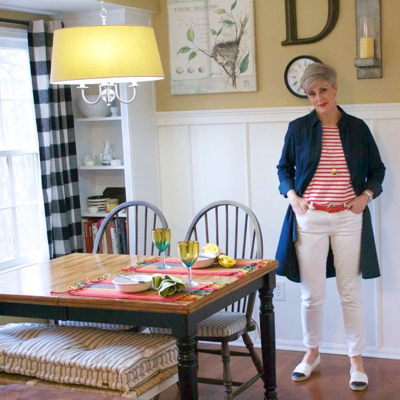 j.crew striped tee, madewell denim dress, ann taylor white denim, tory burch espadrilles
