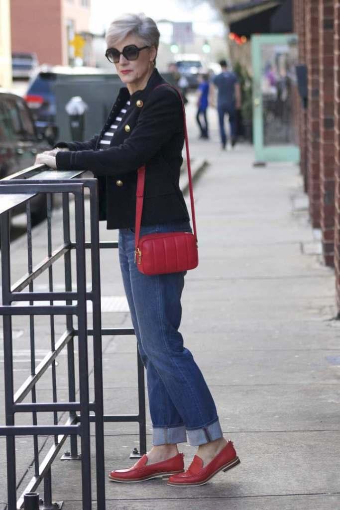 zara military blazer, j.crew matchstick denim, ralph lauren striped tee, coach red loafers, talbots red camera handbag