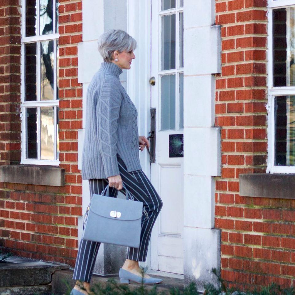 banana republic sloan pants, everlane cableknit turtleneck, suede grey shoes