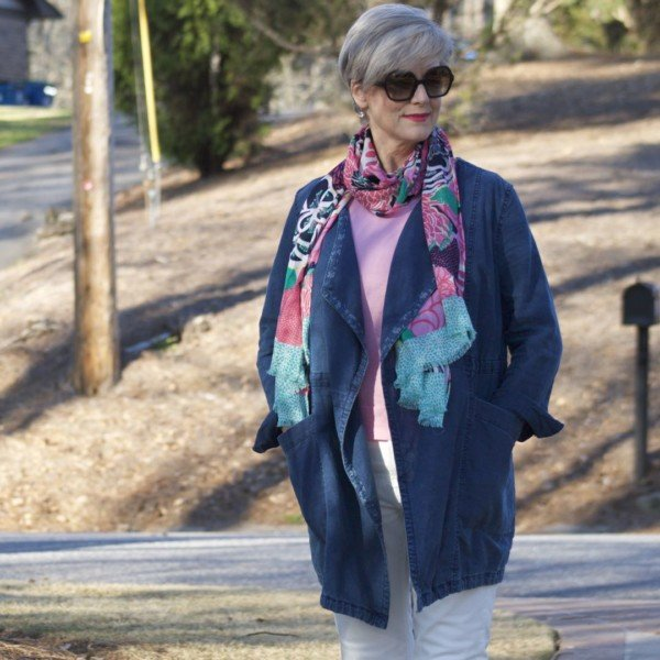 anthropologie waterfall jean jacket, talbots pink side tie sweater, everlane ecru denim, tory burch espadrilles, talbots pattern scarf