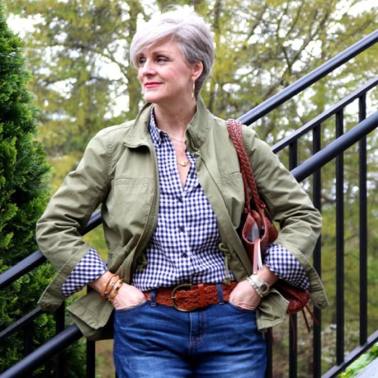gap gingham shirt, j.crew boyfriend jeans, j.crew utility jacket, ann taylor suede pumps, leather tote, tory burch bracelets