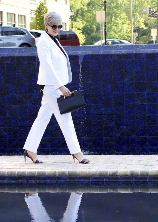 polka dot rock, white suit, beth djalali, what i wore on date night
