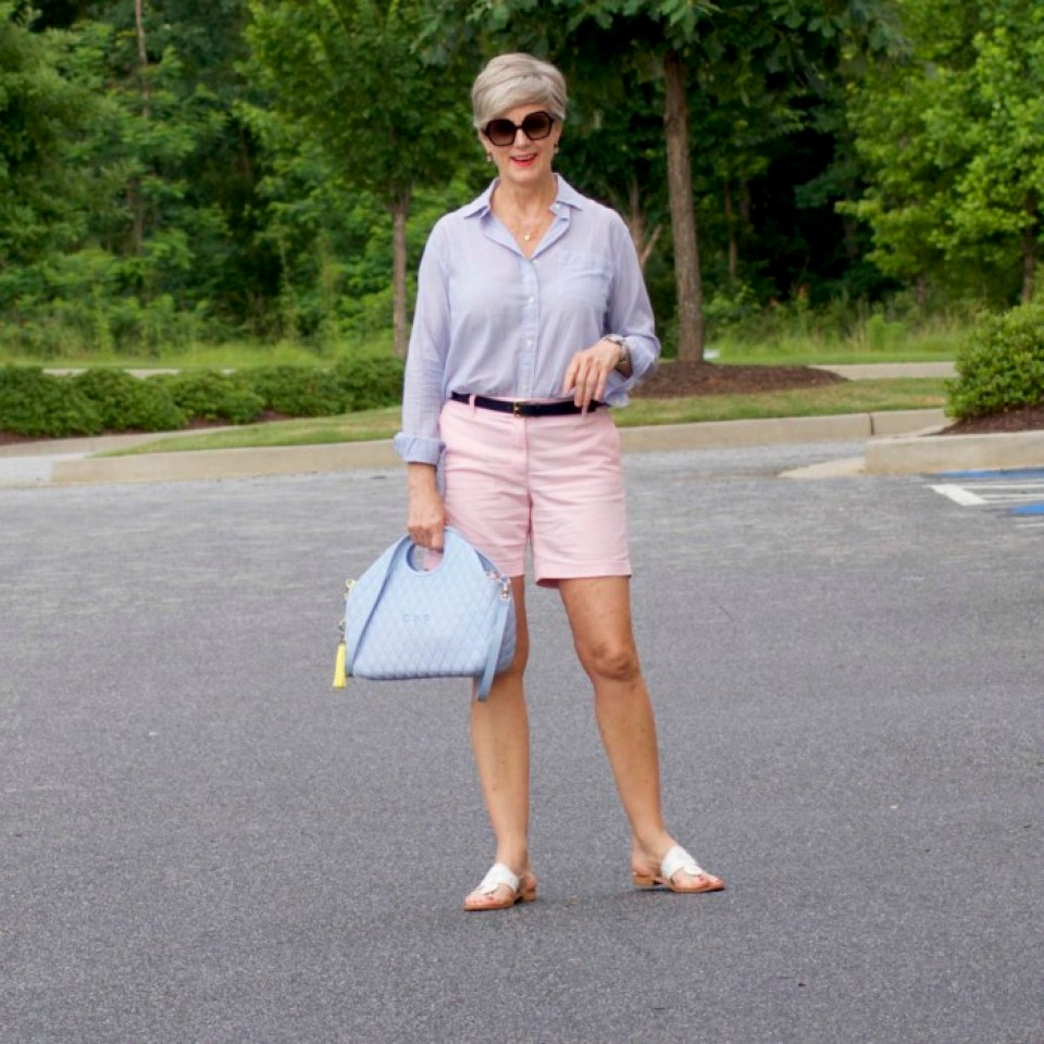 j.crew shorts, ralph lauren striped shirt, jack rogers sandals, o bag