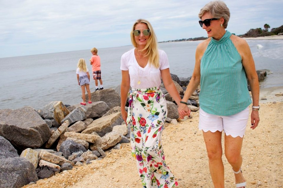 floral maxi skirt, white tee, gingham top, scalloped shorts, beaches
