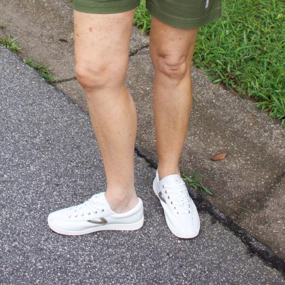 talbots distressed shorts, j.crew graphic tee, tretorn sneakers