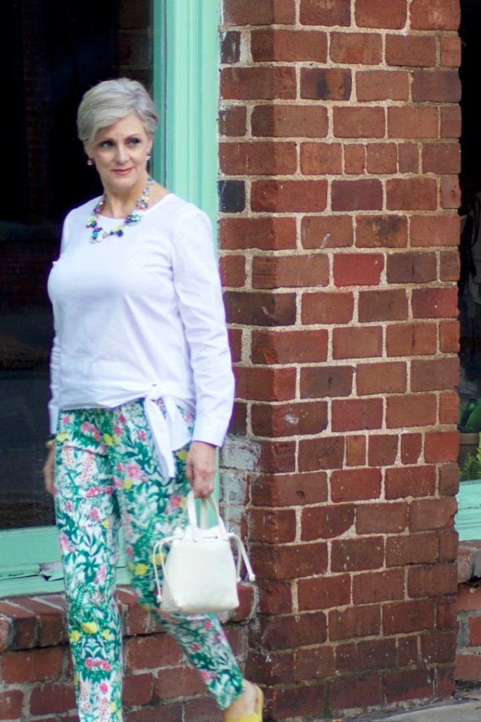 talbots floral pants, white blouse, boden yellow sandals