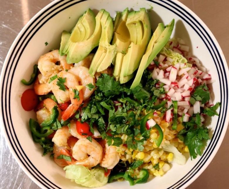 shrimp salad, pina colada