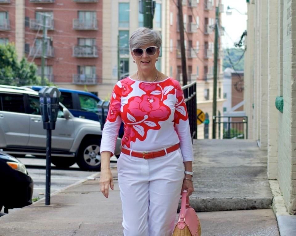 white chinos, tee, white sandals, straw handbag