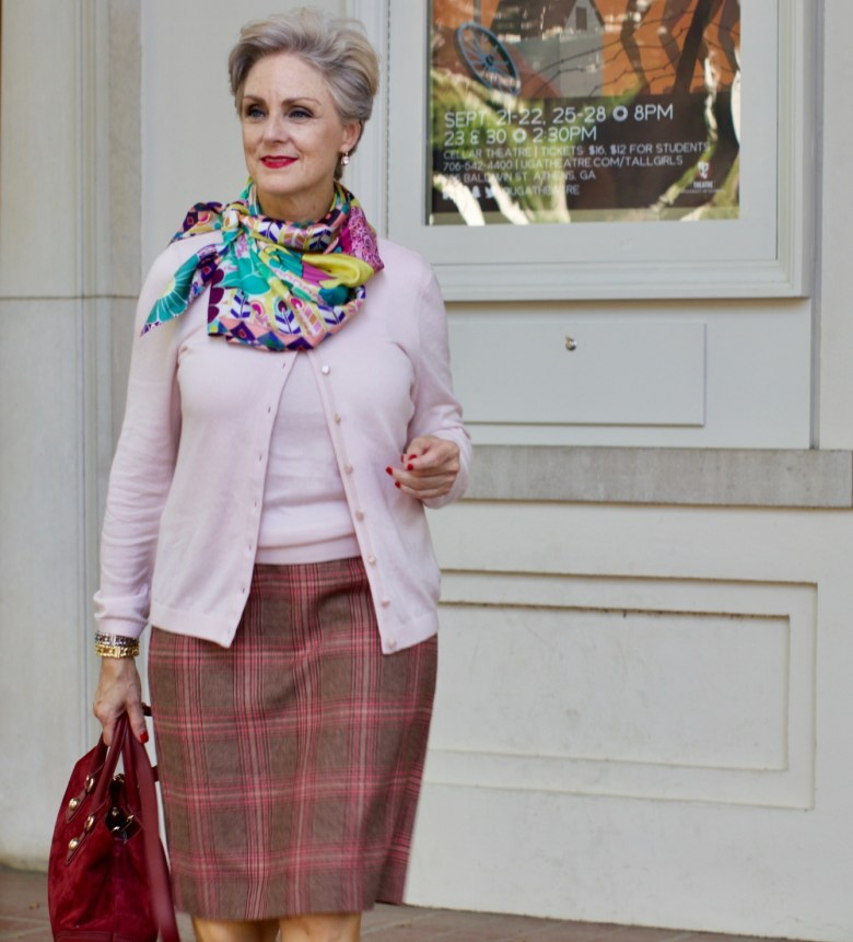 Talbots cardigan, silk scarf, leopard shoes