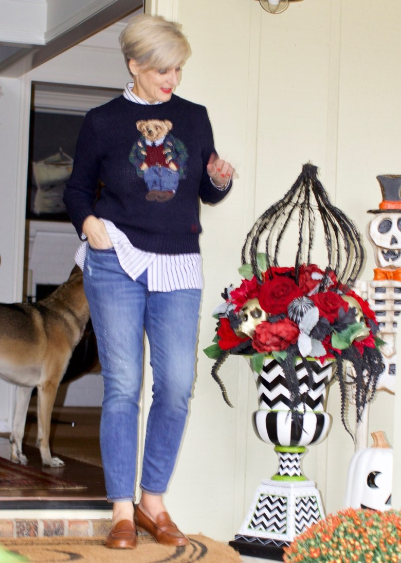 fall home design updates from beth at a Style at a Certain Age who is wearing a Ralph Lauren Polo Bear sweater, J.Crew skinny jeans, and J.Crew Ryan Loafers