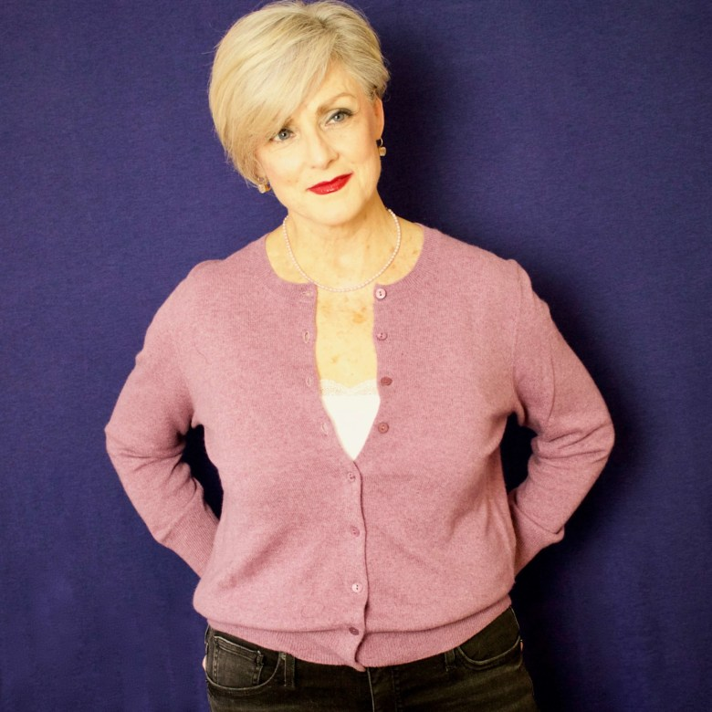 beth from Style at a Certain Age wears a cashmere cardigan from Marks & Spencer