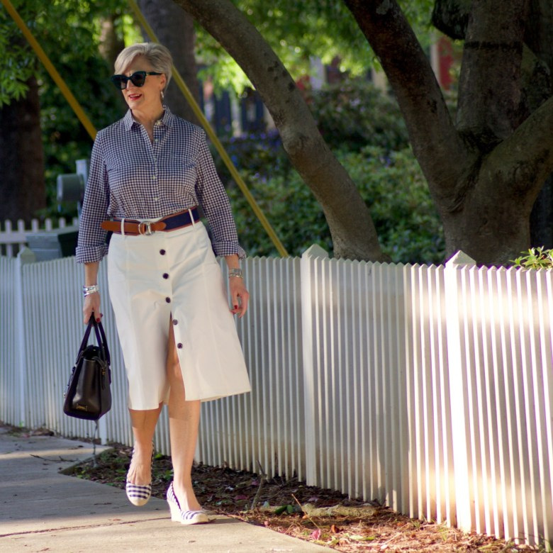 beth from Style at a Certain Age wears a midi skirt from JC Penney
