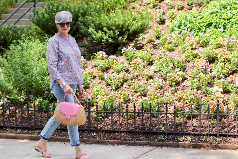 how to wear a j. crew liberty print with distressed jeans
