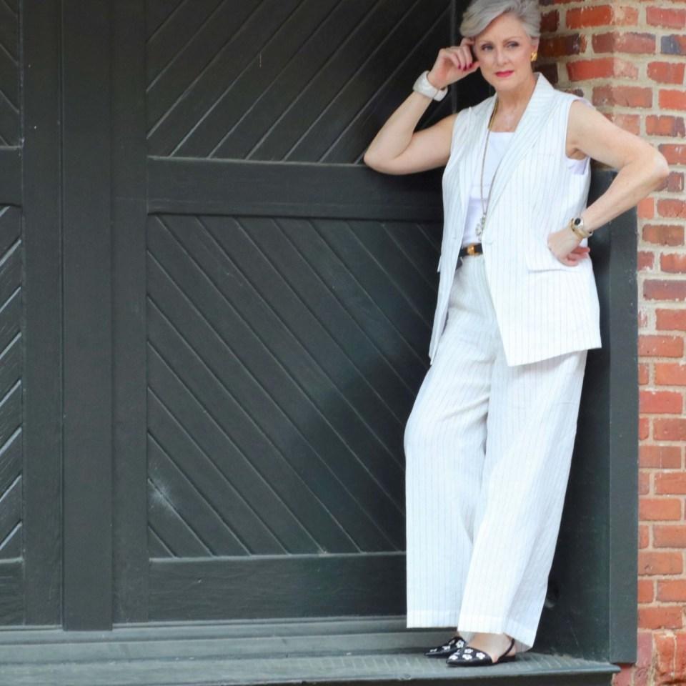 lafayette linen pinstripe vest and pants