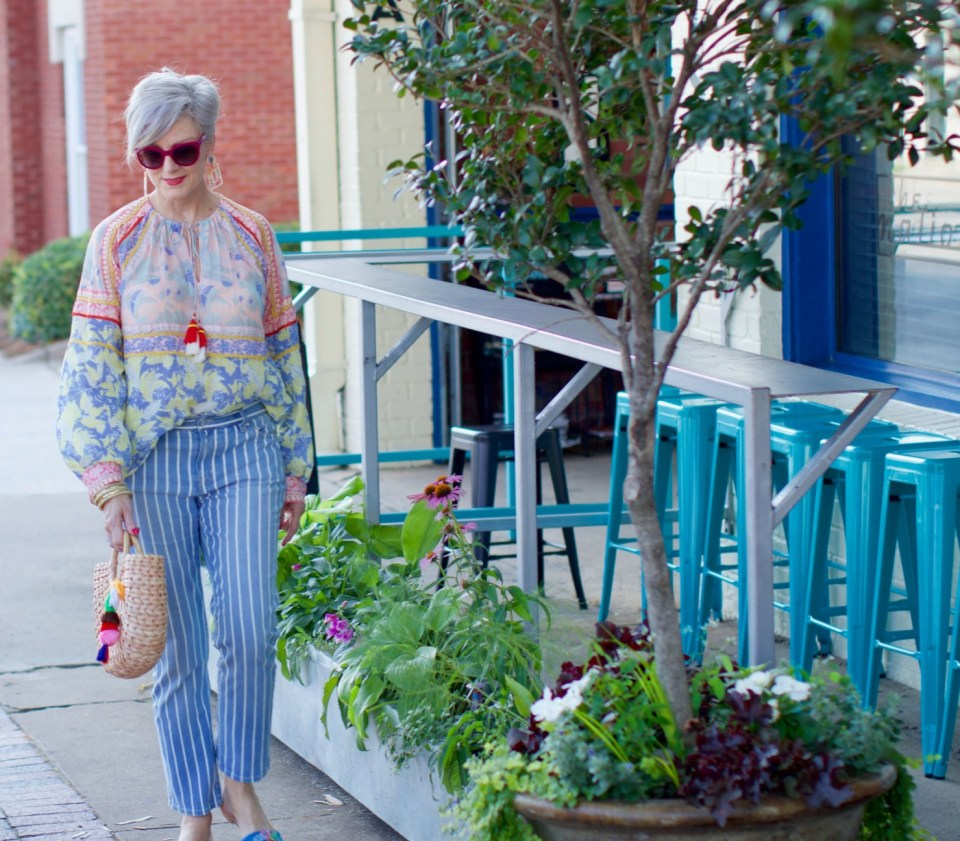 peasant blouse striped jeans