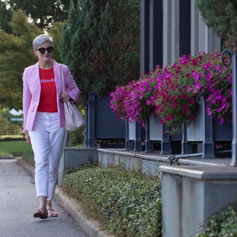 pink gingham blazer