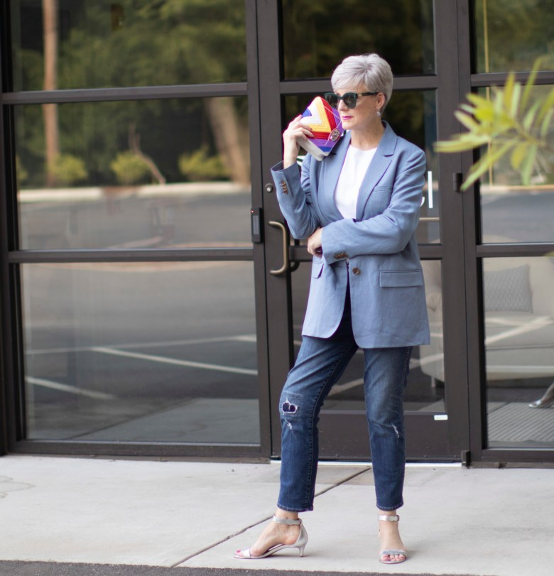 blue linen blazer, white tee, and blue jeans