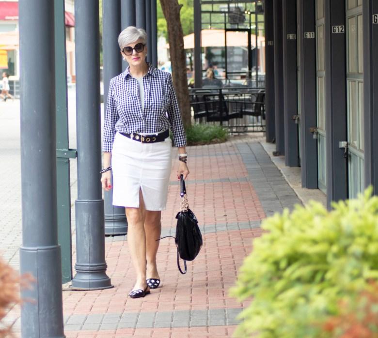 white denim skirt & gingham shirt