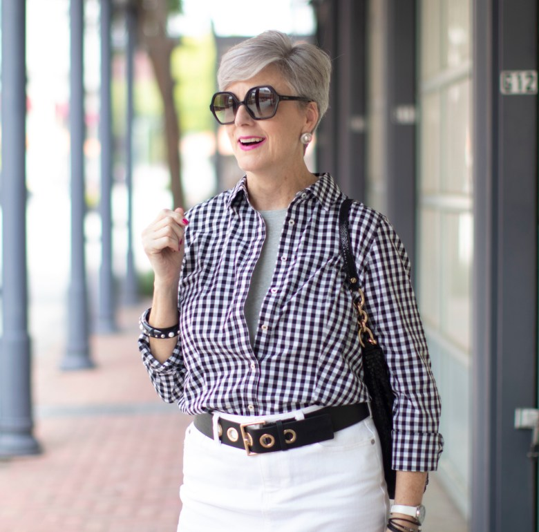 white denim skirt & gingham shirt