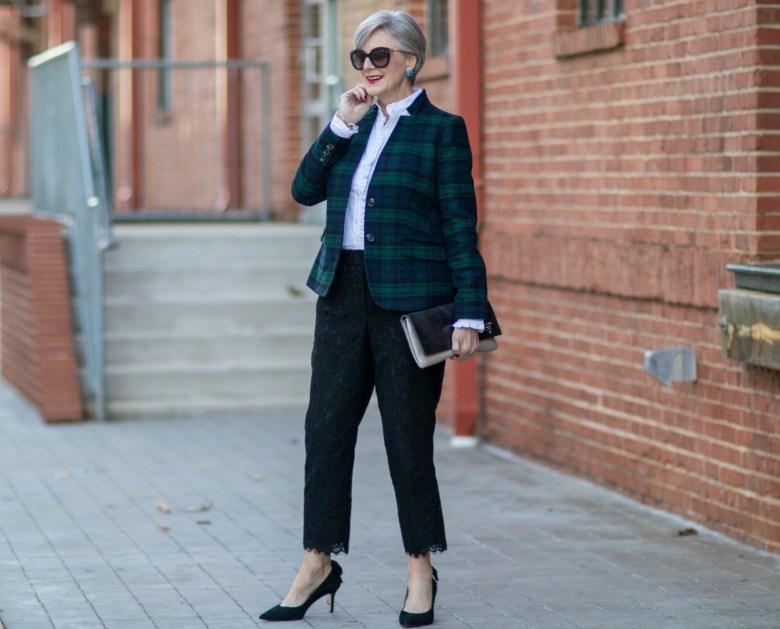 blackwatch plaid and lace pants
