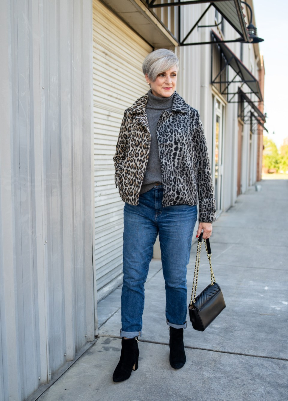 leopard jackets and suede booties