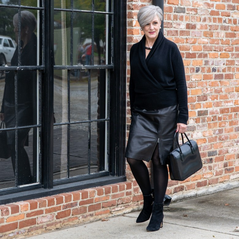 cashmere sweater, leather skirt and leopard scarf